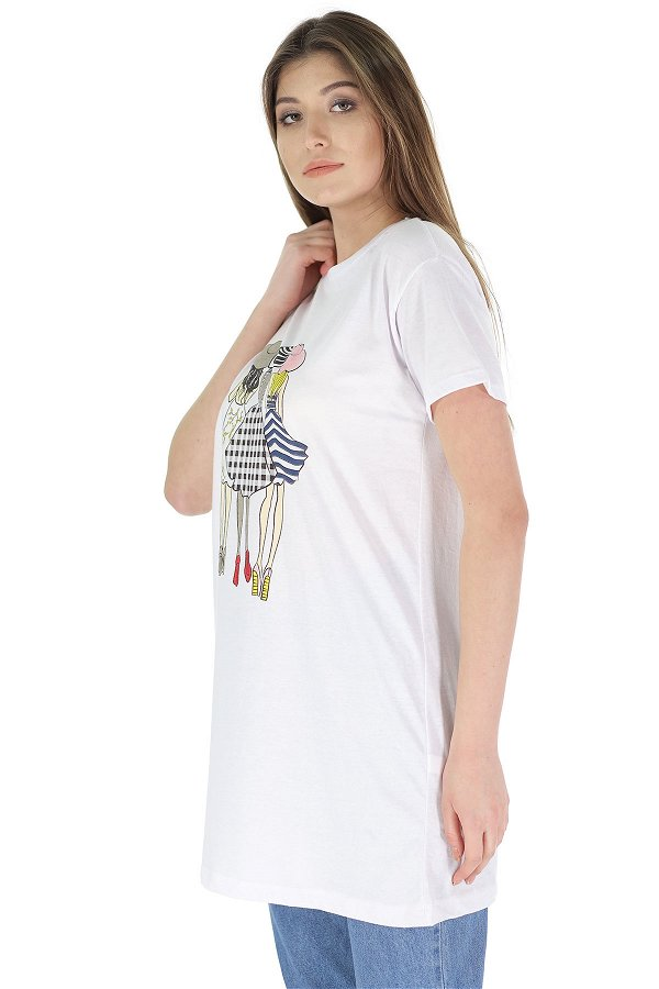 Ön Baskılı Kısa Kol Tunik Beyaz