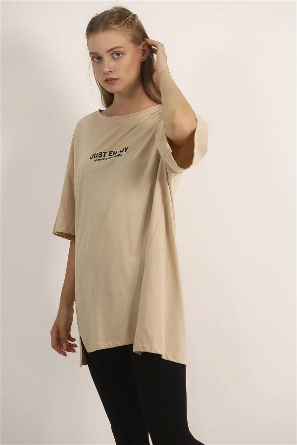 Ön Baskılı T-shirt BEJ