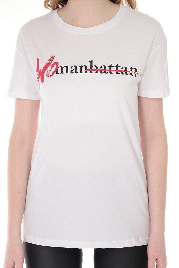 Ön Baskılı T-shirt Beyaz
