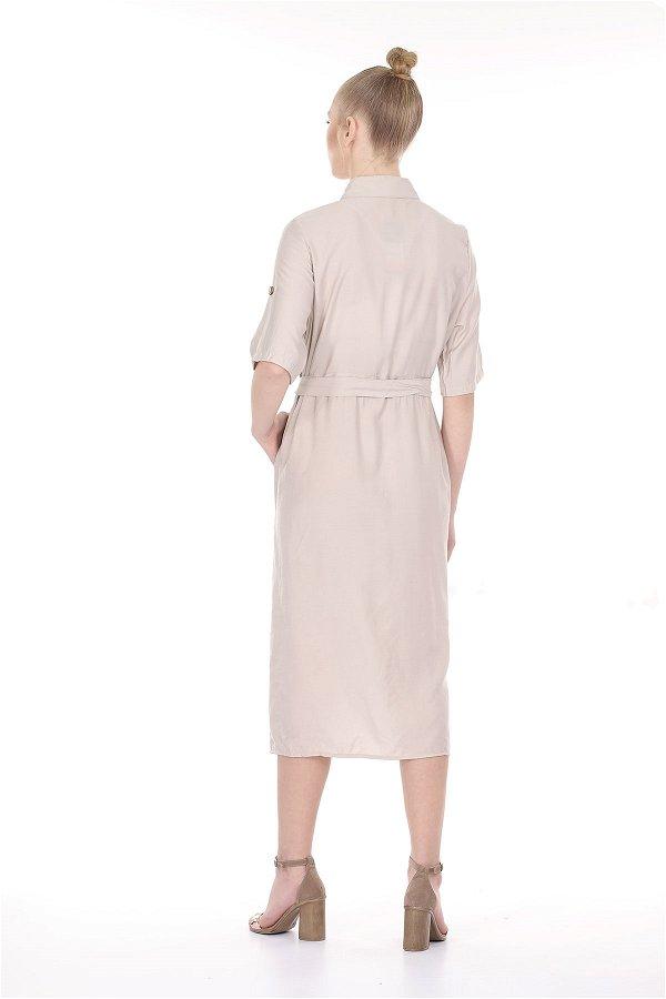 Ön Düğmeli Bağcıklı Elbise BEJ