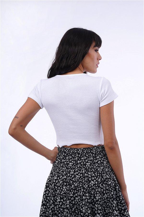 Ön Düğmeli Mini Bluz Beyaz