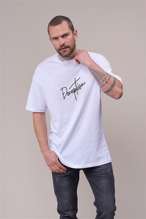 Deceptıon Baskılı Oversize T-shirt Beyaz