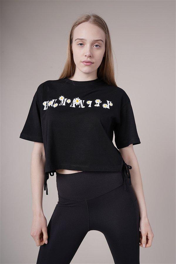 Papatya Baskılı Yan Bağcıklı Mini T-shirt SIYAH