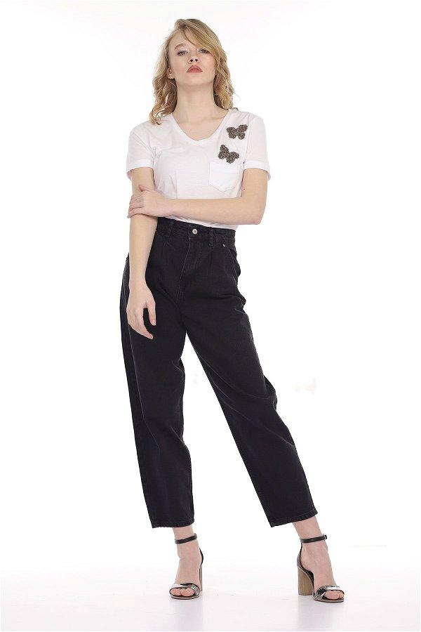 Pileli Mom Jeans  Pantolon FUME