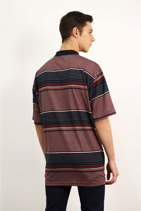 Polo Yaka Çizgili T-shirt BORDO