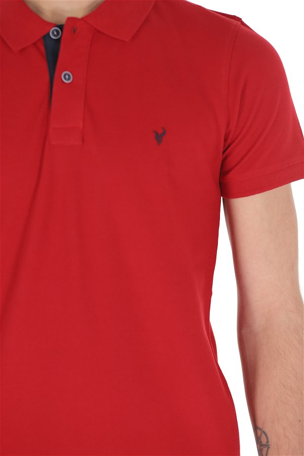 Polo Yaka Erkek T-shirt Kırmızı