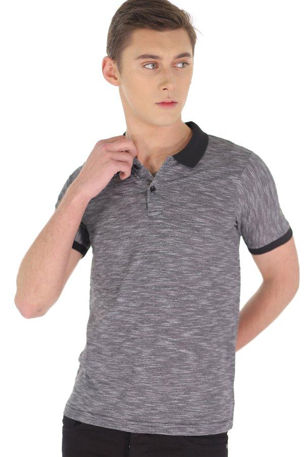 Polo Yaka Jakarlı T-shirt SIYAH