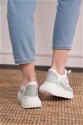 Bağcıklı Spor Ayakkabı BEYAZ-YEŞİ