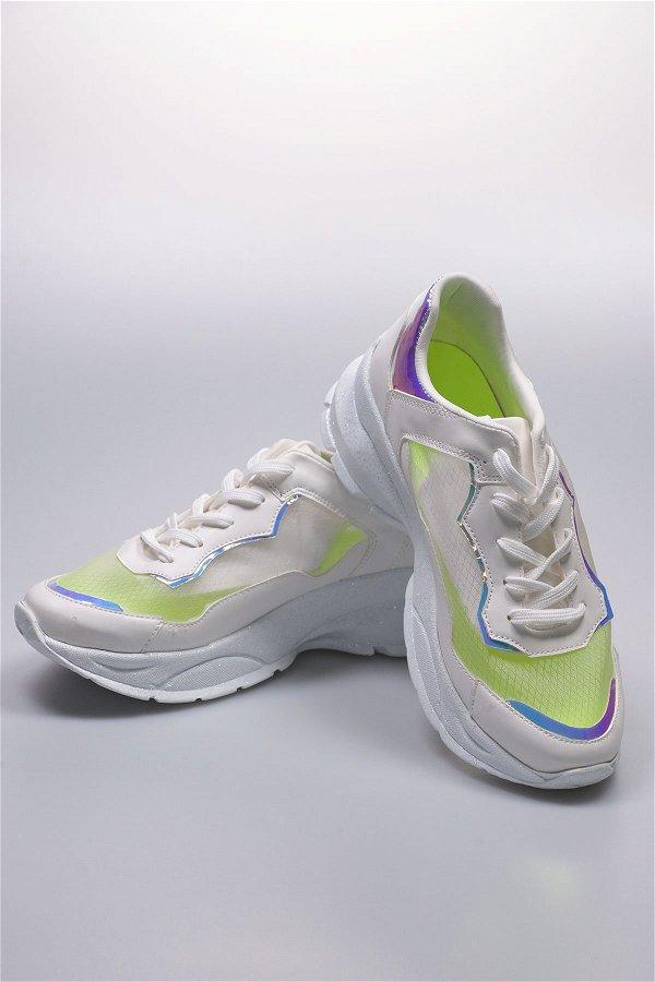 Tüllü Kadın Spor Ayakkabı Beyaz