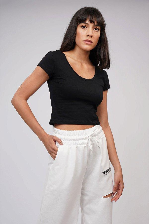 U Yaka Kısa T-shirt SIYAH