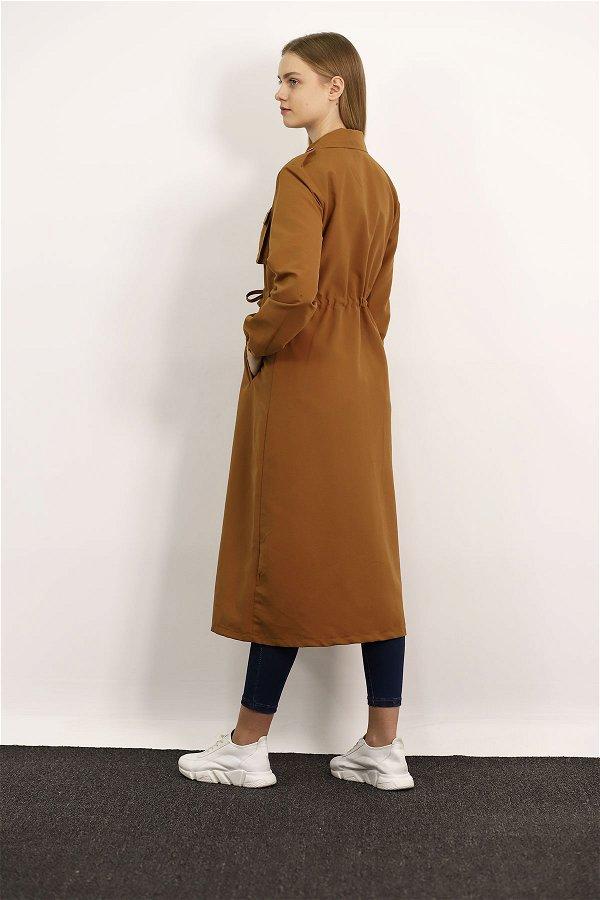 Bel Bağcıklı Düğmeli Trenchcoat CAMEL