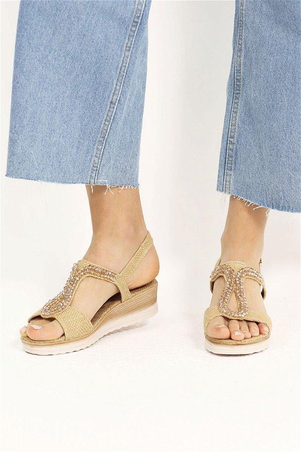 Boncuklu Kadın Sandalet
