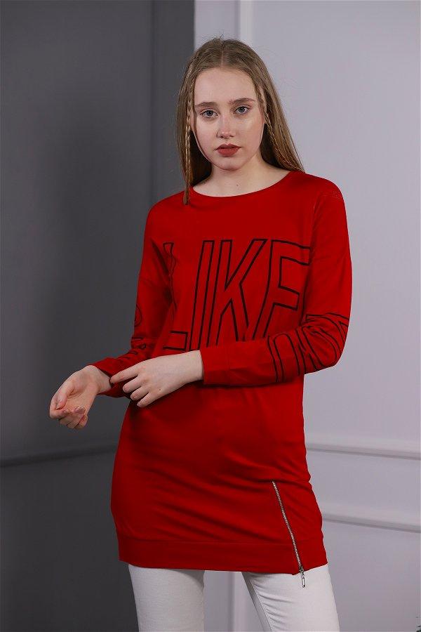 Uzun Baskılı Tunik Kırmızı