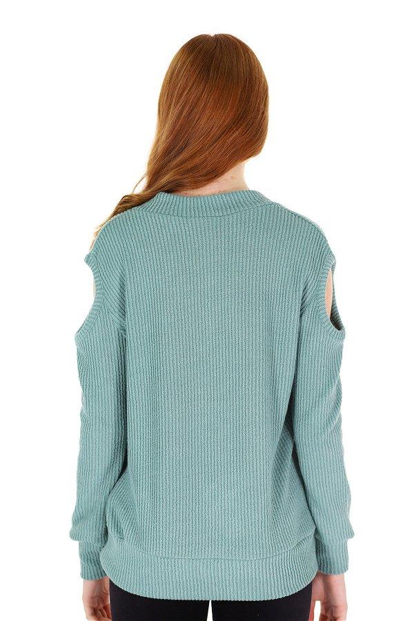 V Yaka Kol Detaylı Bluz