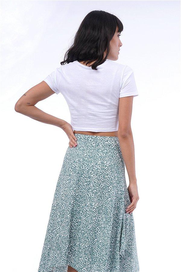 V Yaka Ön Büzgülü Mini T-shirt Beyaz