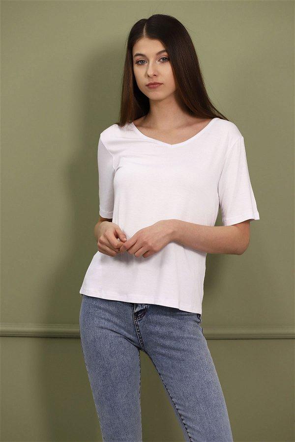 V Yaka T-shirt Beyaz