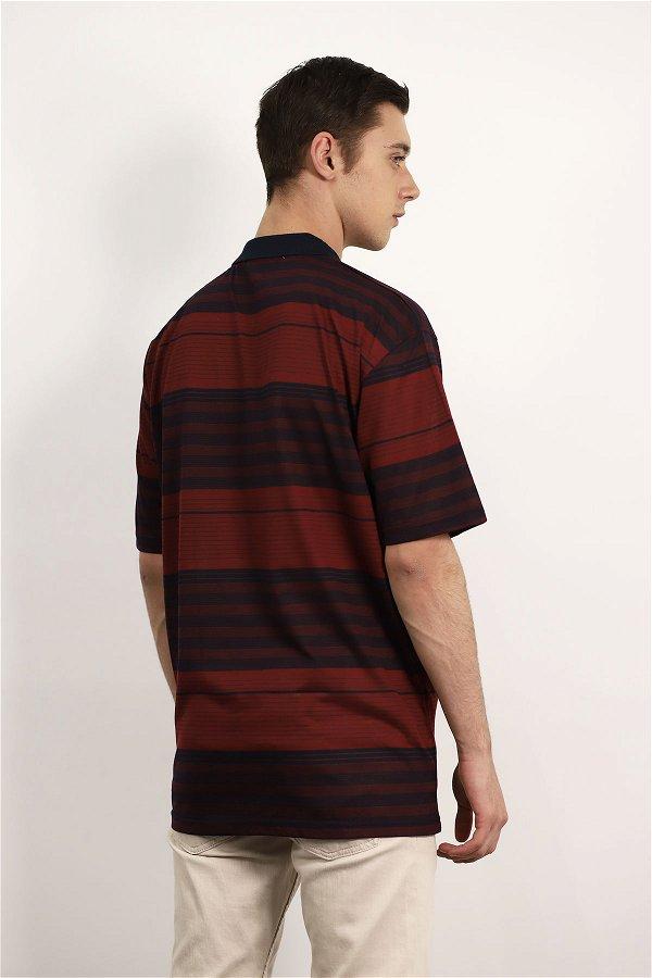 Polo Yaka Çizgili  T-shirt BORDO