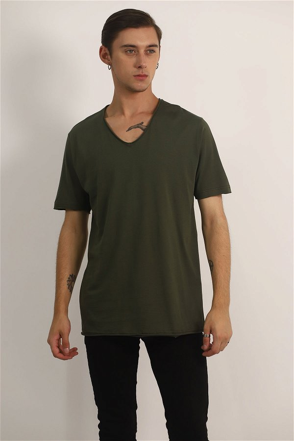V Yaka T-Shirt HAKI