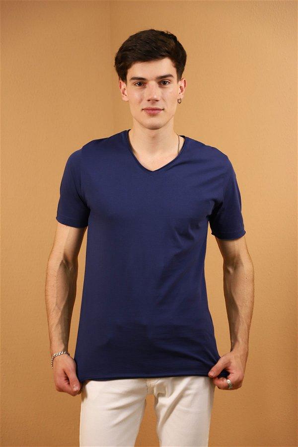 V Yaka T-Shirt LACIVERT