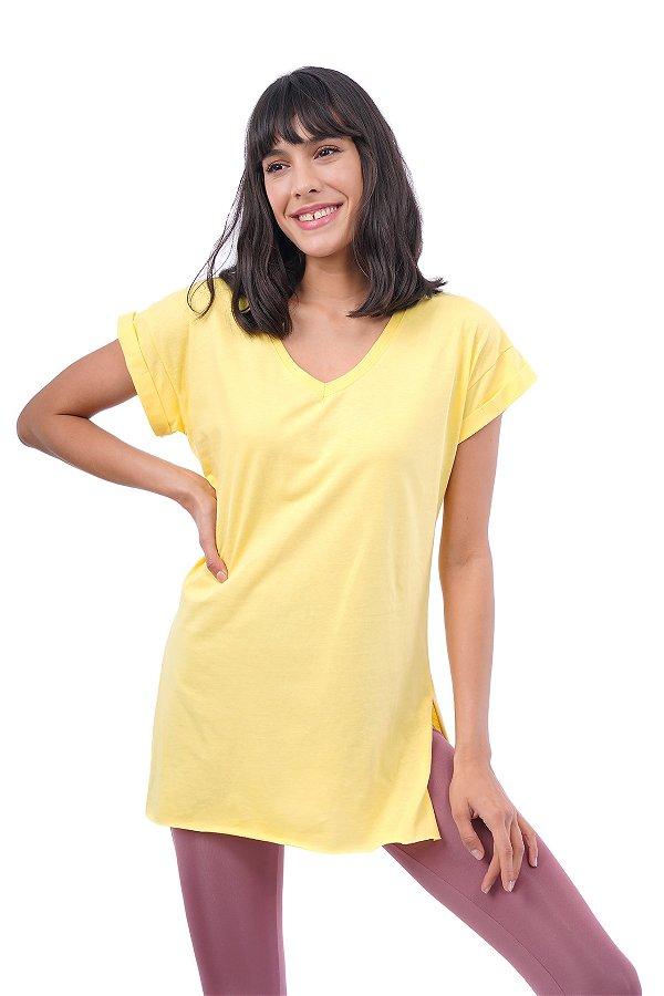 V Yaka Yan Yırtmaçlı T-shirt SARI