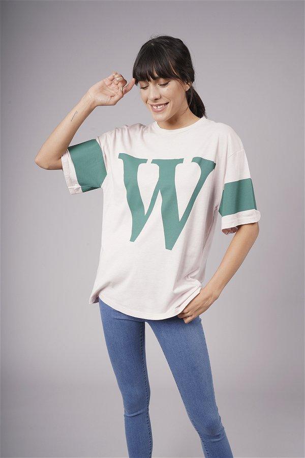 W Baskılı T-shirt PUDRA