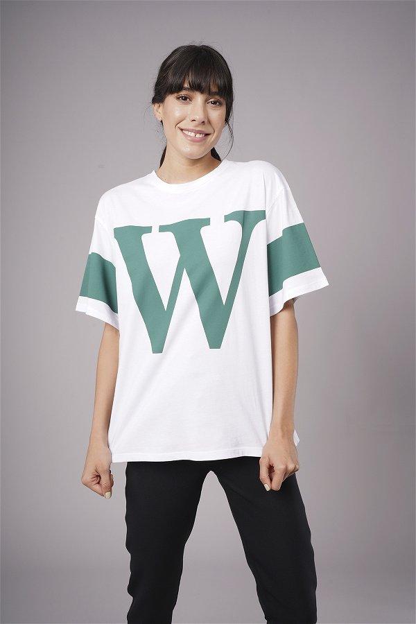 W Baskılı T-shirt B.MAVI