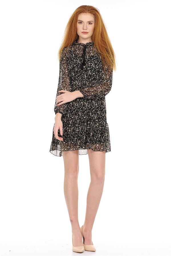 Yaka Bağcıklı Desenli Elbise