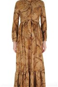 Yaka Fırfırlı Uzun Elbise TABA