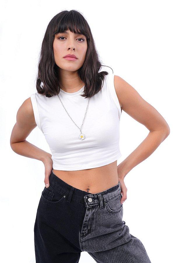 Yaka Zincirli Mini Bluz EKRU