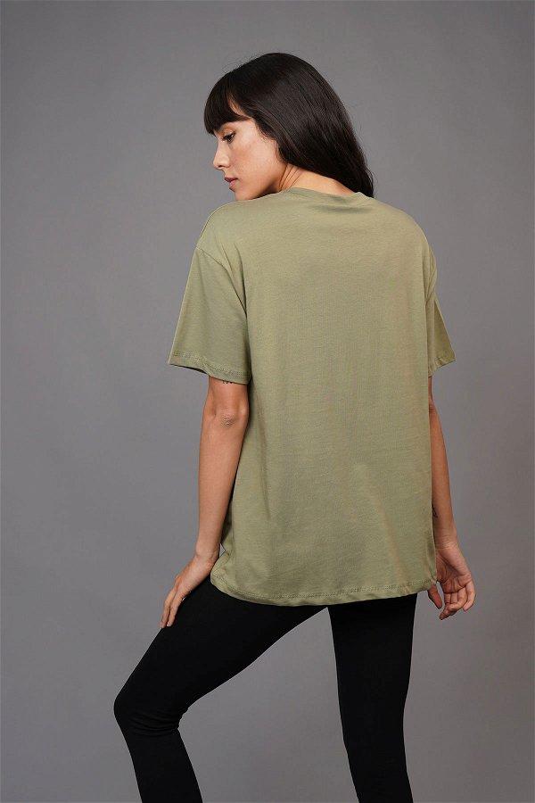 Yaka Zincirli T-shirt HAKI