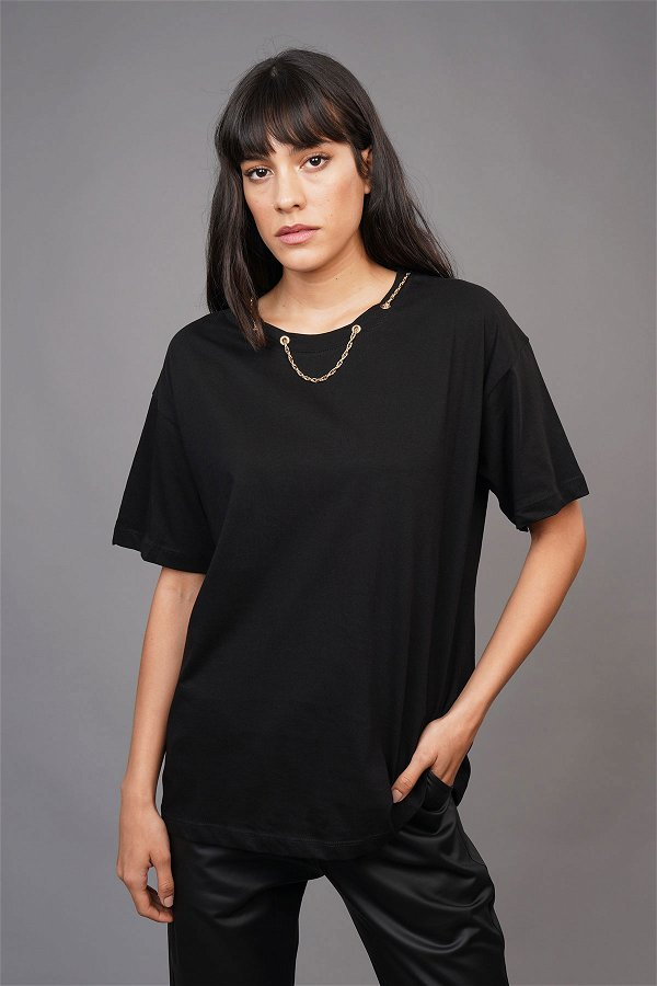 Yaka Zincirli T-shirt SIYAH