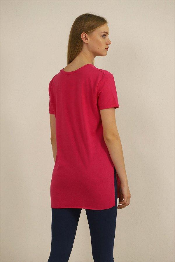 Yan Yırtmaçlı T-shirt PEMBE