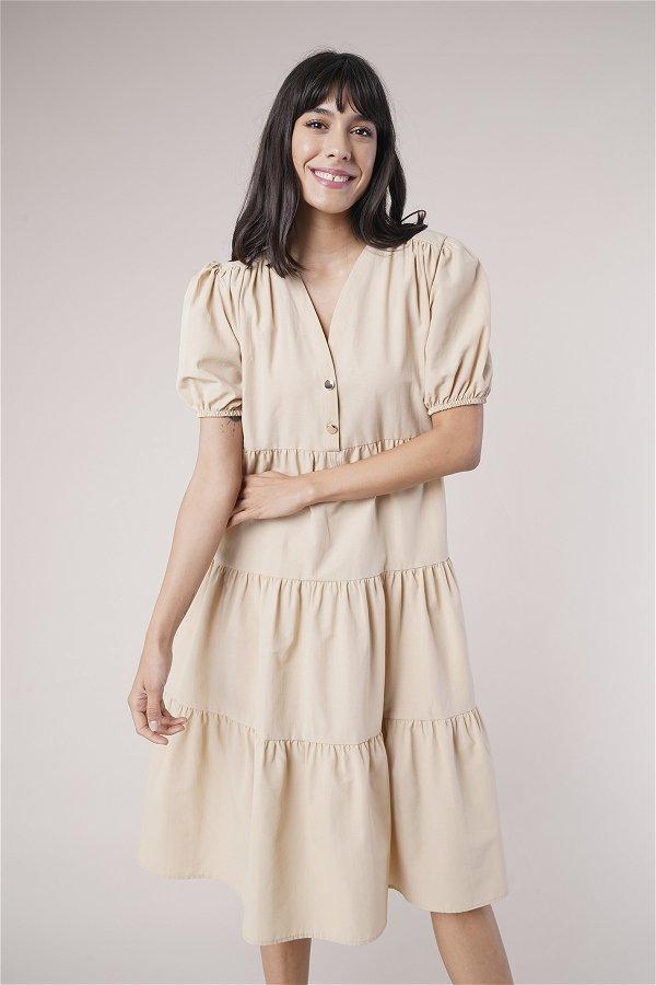 Düğme Detaylı Elbise BEJ
