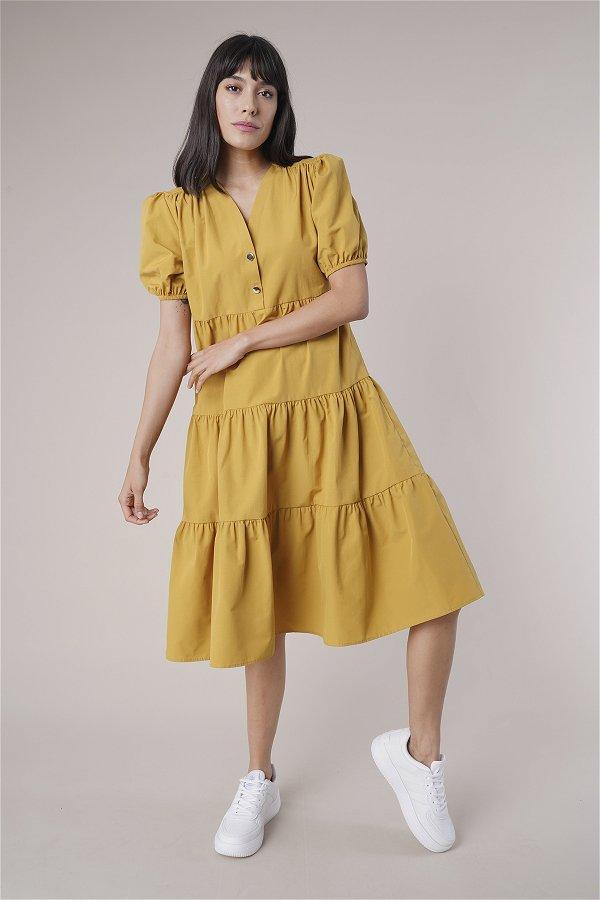 Düğme Detaylı Elbise HARDAL