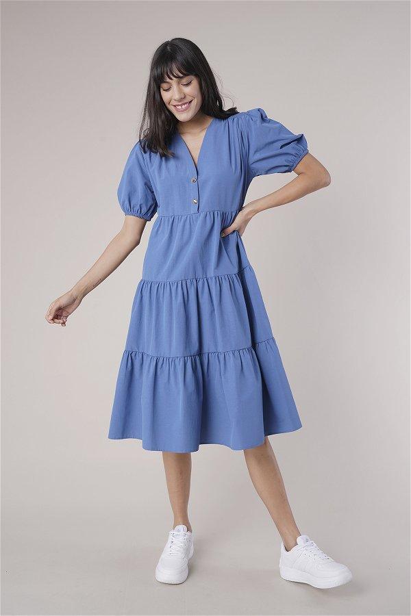 Düğme Detaylı Elbise INDIGO