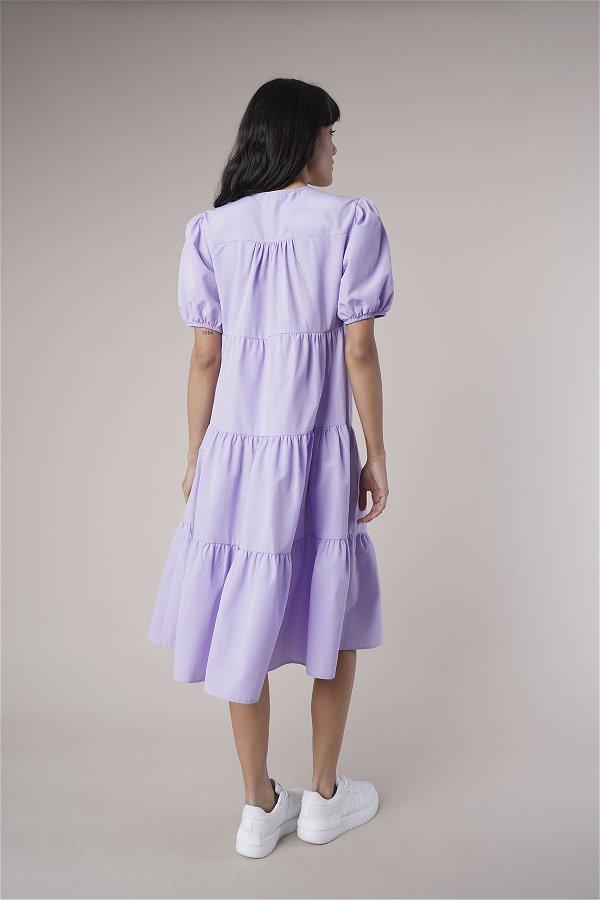 Düğme Detaylı Elbise LILA