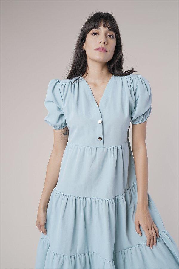 Düğme Detaylı Elbise MINT