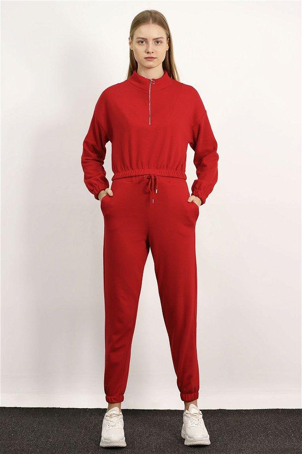 Bel Bağlamalı Fermuarlı Eşofman Takımı Kırmızı