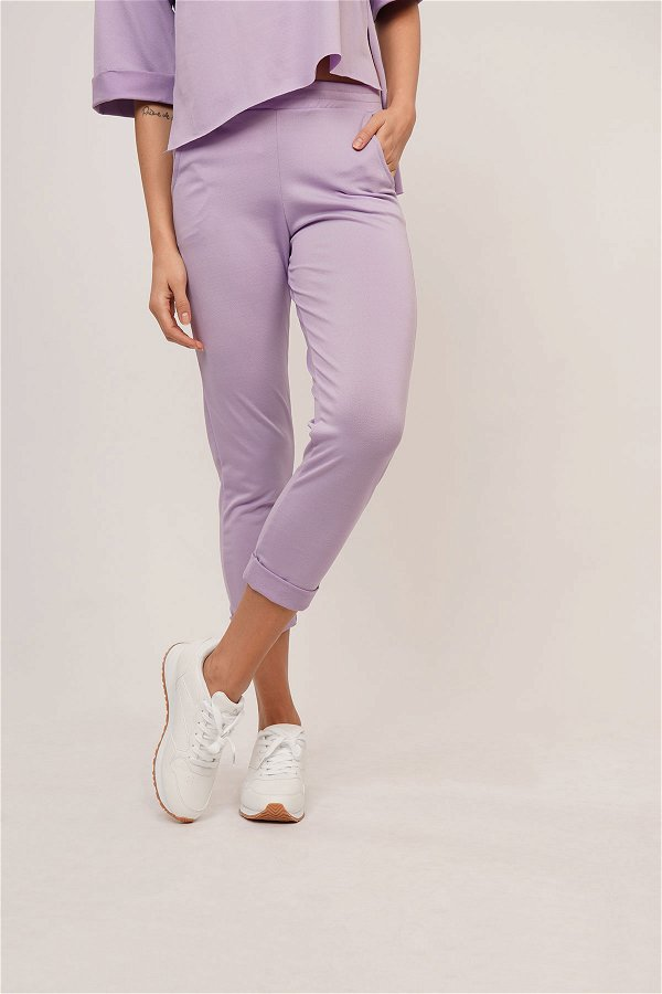 Yetim Kol Pantolonlu İkili Takım lila