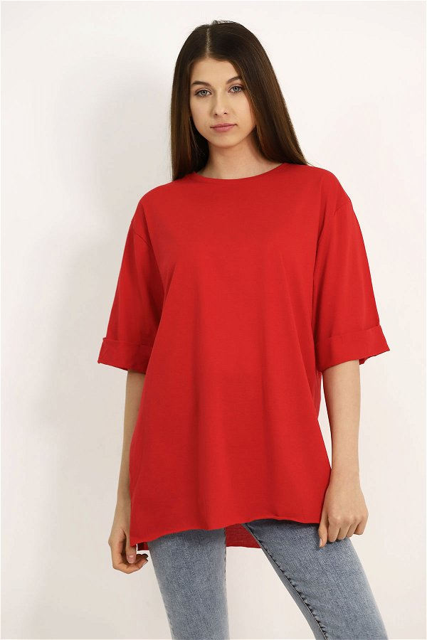 Yetim Kol Yan Yırtmaçlı T-shirt Kırmızı