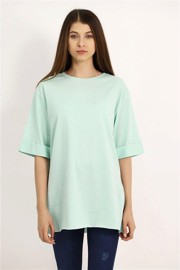 Yetim Kol Yan Yırtmaçlı T-shirt MINT