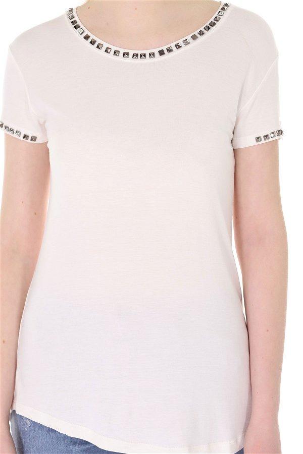 Zımbalı T-shirt Beyaz